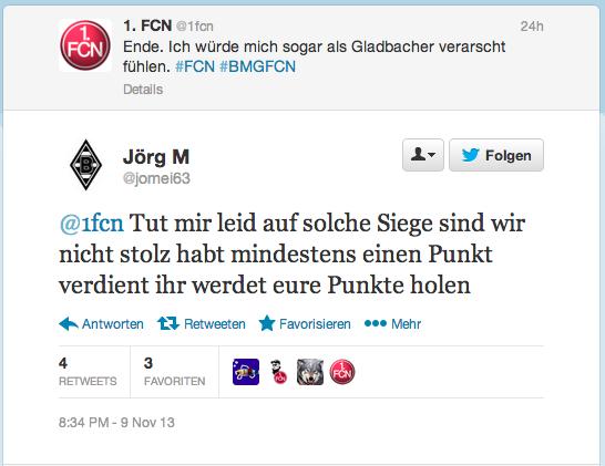 Tweet zum Spiel Mönchengladbach vs. 1. FC Nürnberg