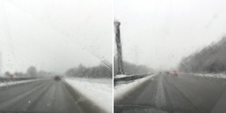 Schnee auf der A59
