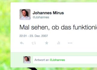 Screenshot erster Tweet
