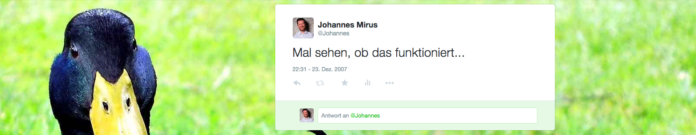 Screenshot erster Tweet