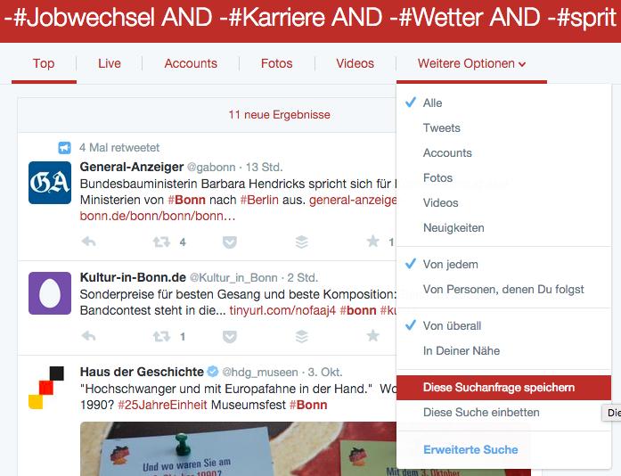 Twitter-Suche speichern