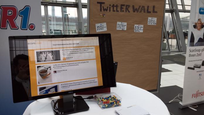 Twitterwalls beim Cloud Unternehmertag 2016