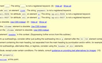 Fehlermeldungen aus dem HTML-Validator