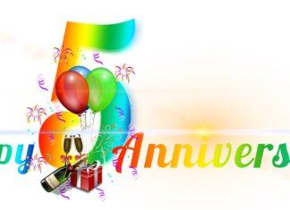 """Schriftzug """"Happy 5th Anniversary"""""""