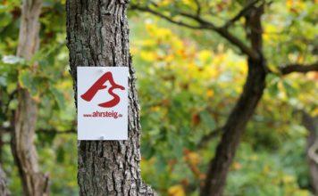 Wanderschild Ahrsteig, das an einen Baum genagelt ist.
