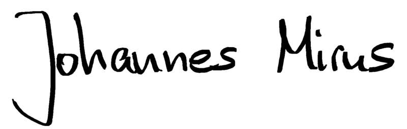 Johannes Mirus (in der Handschrift von Johannes)