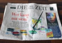 """Schlagzeile: """"Wer kann mit wem?"""", dazu sind Wassermalfarben in den Farben der Parteien abgebildet."""