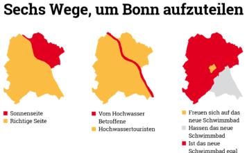 Sechs Umrisse von Bonn in bunten Farben, die Unterschiede erklären. Leider zu umfangreich, um das hier zu schreiben. Tut mir leid.