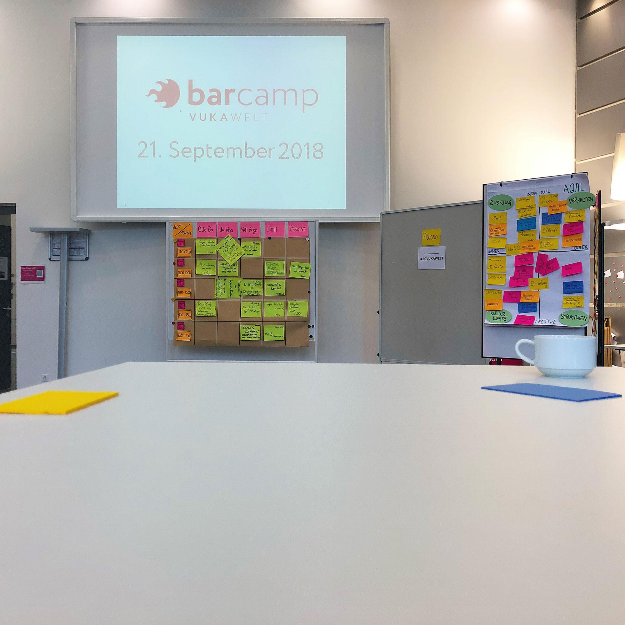 Ein fast leerer Tisch mit Haftnotizen und einer Kaffeetasse. Im Hintergrund wir das Logo des Barcamps und das Datum an die Wand projiziert, darunter sind Metaplanwände mit bunten Haftnotizen.