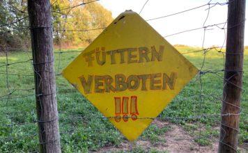 Ein gelbes, auf der Spitze stehendes, quadratisches Schild, auf das jemand mit dickem Stift geschrieben hat: Füttern verboten!!!