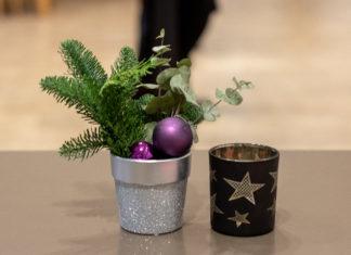 Ein kleiner Topf mit Nadelbaumzweig und Weihnachtsbaumkugel, daneben ein Teelichtbehältnis mit Stern darauf