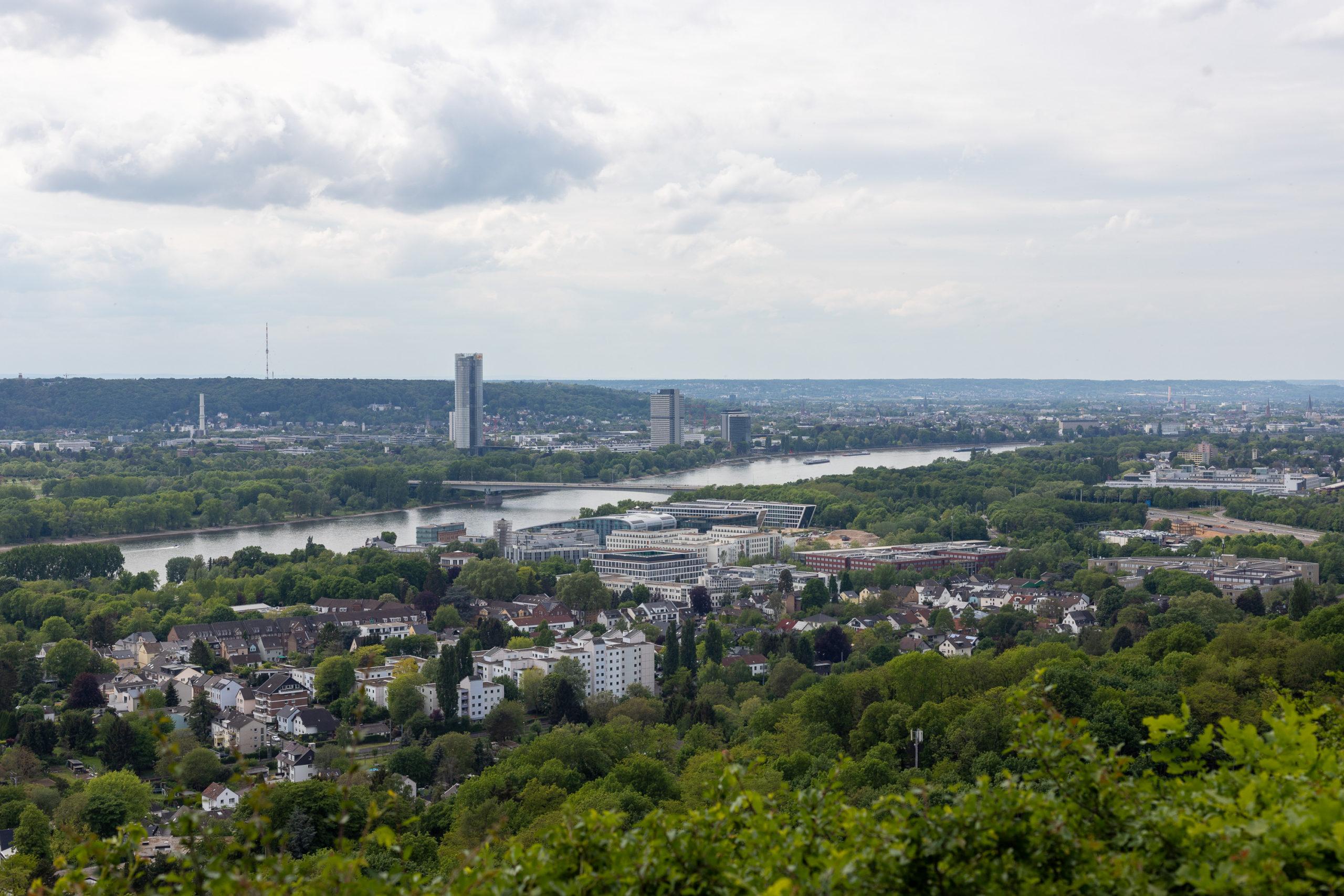 Blick nach Bonn, man erkennt drei Hochhäuser und viele weitere Gebäude, eingerahmt von viel Grün.