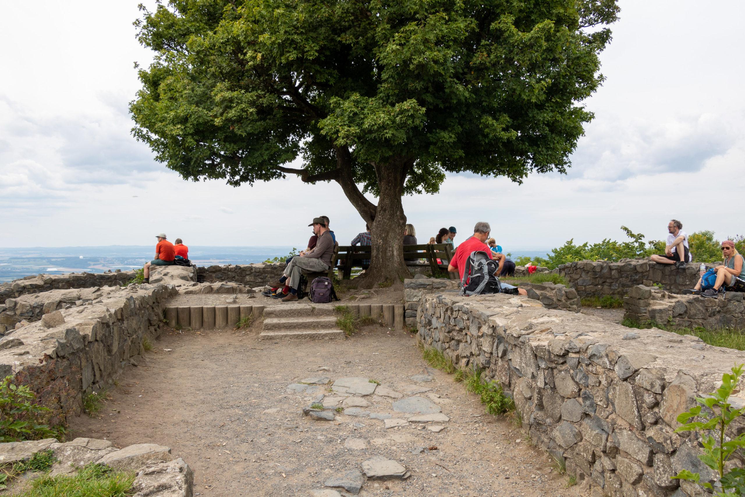 Halbhohe Steinmauern, in der Mitte ein Baum mit Bank darum. Vereinzelt sitzen Menschen herum.