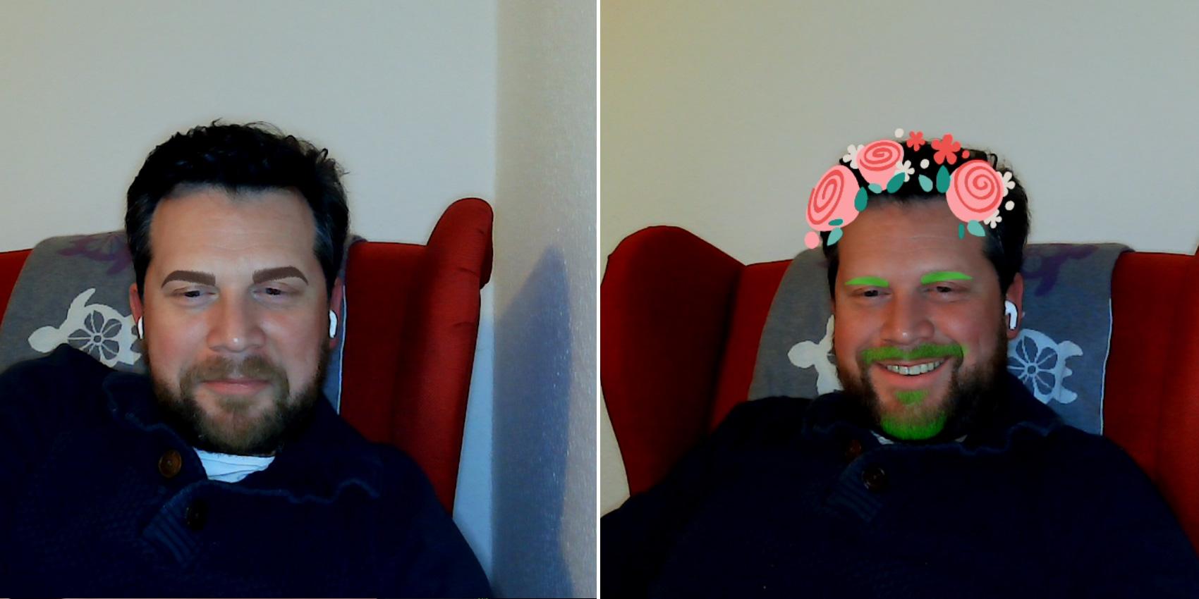 Zwei Mal Johannes. Links mit dicken dunklen Augenbrauen. Rechts mit Blumen in den Haaren und grünen Augenbrauen und Bart.