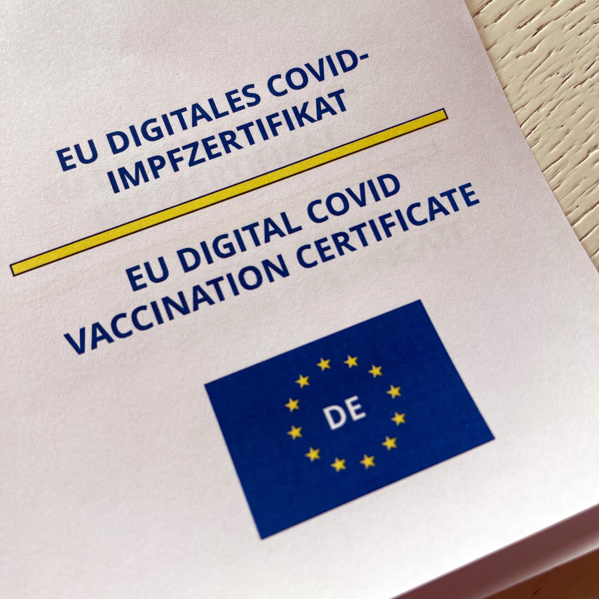 Ausschnitt des Ausdrucks der digitalen Impfzertifikats.